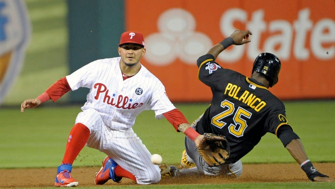 Pirates right fielder Gregory Polanco steals second base as Phillies third baseman Freddy Galvis fields the late throw during the sixth inning Thursday at Citizens Bank Park.