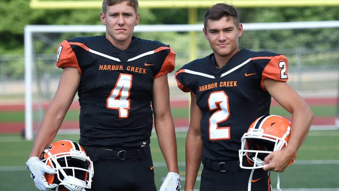 Twin brothers Cody Smith, left, and Casey Smith, right, are back for their senior year with Harbor Creek.