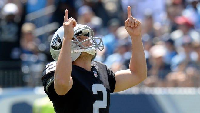 Raiders kicker Giorgio Tavecchio made four field goals in his NFL debut.
