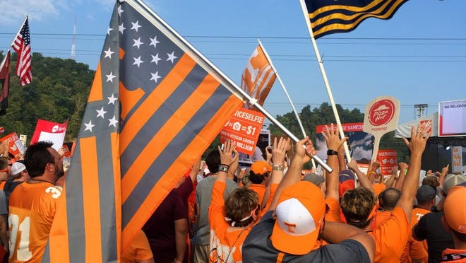 Tennessee fans during ESPN's   œCollege GameDay   before the Tennessee vs. Virginia Tech game at The Battle At Bristol Saturday, September 10, 2016 in Bristol, Tenn. (MICHAEL PATRICK/NEWS SENTINEL)