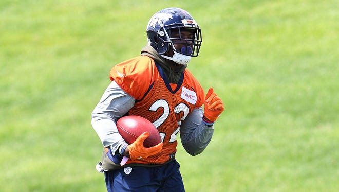 Denver Broncos running back C.J. Anderson (22) during organized training activities at the UCHealth Training Center.
