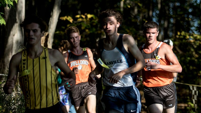Granville senior Ethan Cheney races at the front of the pack this past Saturday during the Licking County League meet.