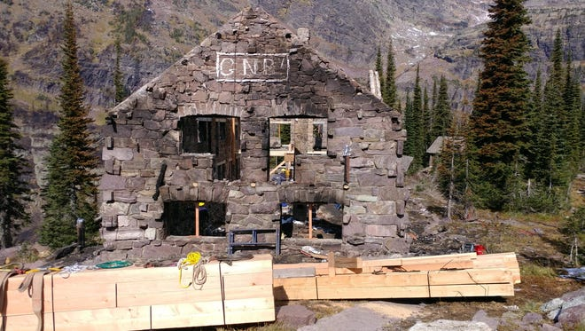 Work began Monday on Sperry Chalet after it was badly burned in the 2017 Sprague Fire