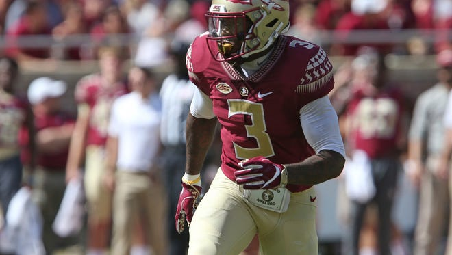 Florida State's Derwin James reacts to an offensive play by Louisville during a game Oct. 21, 2017, in Tallahassee, Fla. Louisville won 31-28. (AP Photo/Steve Cannon)