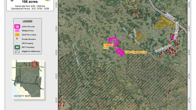 Map of the Cowbell Fire in the Big Cypress National Preserve
