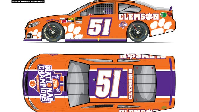 The No. 51 car will be adorned with the Clemson national championship logo.