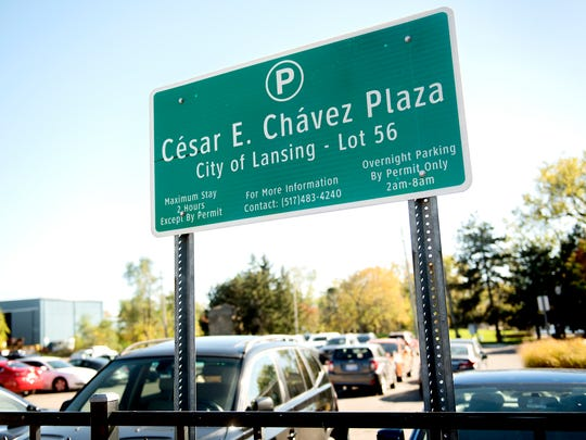 The Cesar E. Chavez Plaza located on Grand River Avenue