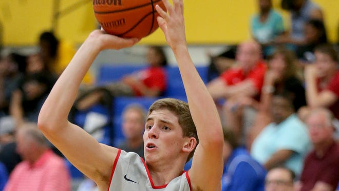 Indiana's Ryan Cline shoots a three-point basket against Kentucky during the Junior All-Star Game, June 6, 2014, at Greenfield Central High School.