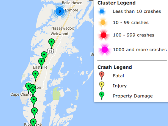 An interactive map on the DMV Highway Safety Office