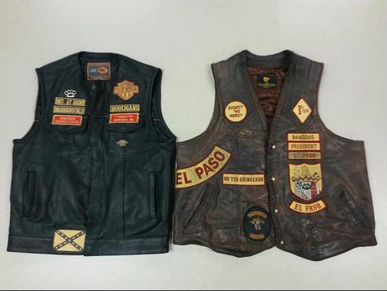 Brass Knuckle and Bandidos motorcycle club biker vests