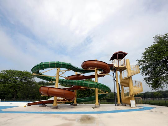 The new water slide at the newly redesigned pool complex at Rockland Lake State Park photographed May 23, 2018. Finishing touches are being made to the new complex, which also includes a new pool, spray park, bathhouse, entrance, and concessions. The complex opens this Saturday.