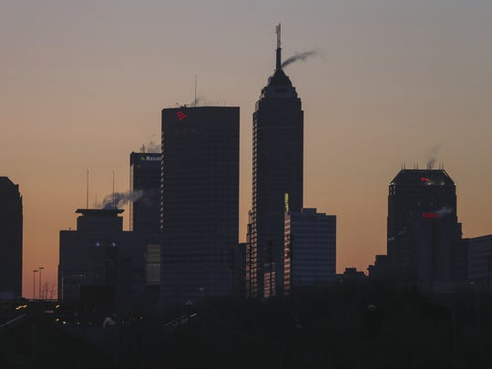 The Indianapolis skyline, about a half hour before sunrise, on March 13, 2014.