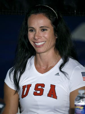 Olympic pole vaulter Jenn Suhr held a news conference at her home in Riga regarding the Rio Games.