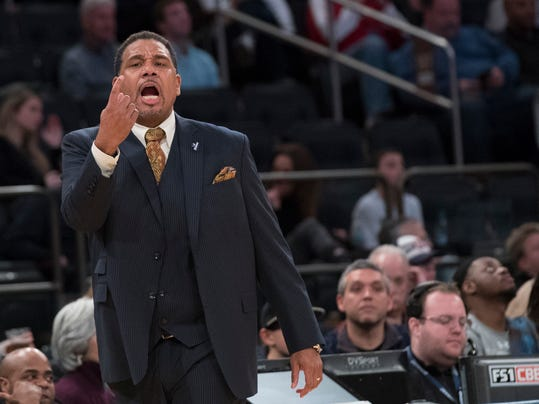 Providence head coach Ed Cooley directs his team during the second half of an NCAA college basketball game against Creighton in the quarterfinals of the Big East conference tournament, Thursday, March 8, 2018, at Madison Square Garden in New York. Providence won 72-68 in overtime. (AP Photo/Mary Altaffer)