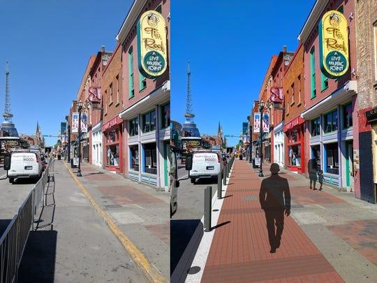 Before and after renderings of sidewalk renovations
