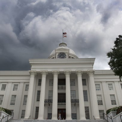 Storm clouds build over the Alabama State Capitol Building
