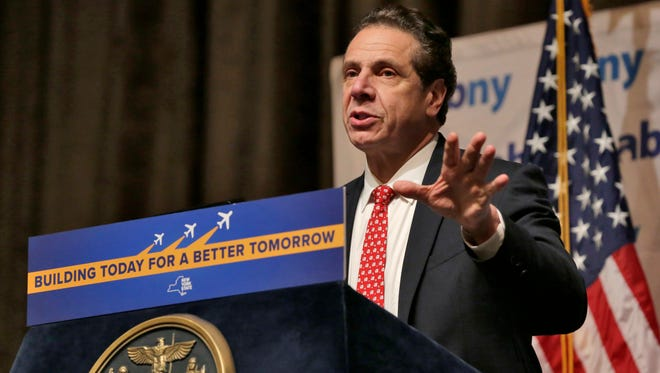 New York Gov. Andrew Cuomo makes an infrastructure announcement about JFK International Airport during the Association for a Better New York luncheon, in New York, Wednesday, Jan. 4, 2017.