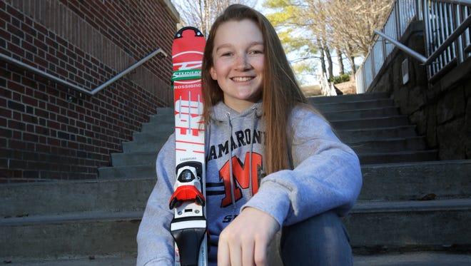 Ellie Lundberg, 16, a member of the Mamaroneck High School Ski team at the school on Mar. 29, 2017.