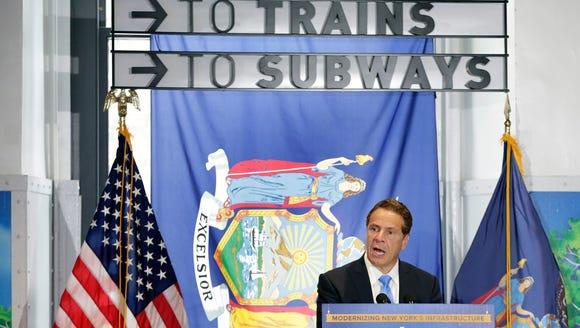 New York Gov. Andrew Cuomo addresses a gathering in