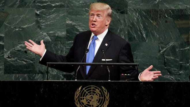U.S. President Donald Trump addresses the 72nd session of the United Nations General Assembly, at U.N. headquarters, Tuesday, Sept. 19, 2017.