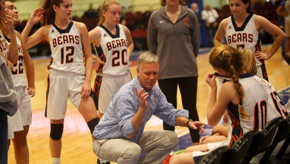 Briarcliff High School Coach Don Hamlin celebrates