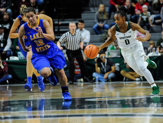 MSU's Shay Colley, grabs a rebound and heads for the