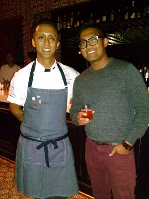 Guest chefs at the Purple Palm restaurant in Palm Springs include Phil Estaban of San Diego, shown here with Derek Gallasnosa of Abnormal Beer Co.
