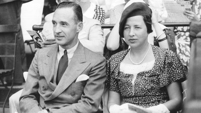 Edsel and Eleanor Ford enjoy a baseball game on July 13, 1934.