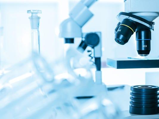 Laboratory microscope lens.Laboratory room