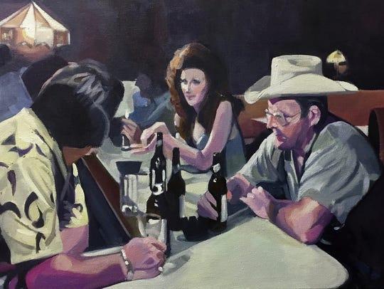 """Marti Jones Dixon, """"Bar I,"""" oil on canvas, 15x30""""."""