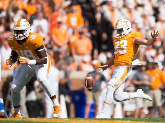 Tennessee Vols punter Trevor Daniel (93) kicks against Indiana State on Sept. 9, 2017.