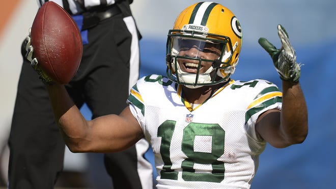 Green Bay Packers receiver Randall Cobb (18) reacts after making a catch in the fourth quarter during Sunday's game against the Chicago Bears at Soldier Field in Chicago. Evan Siegle/Press-Gazette Media/@PGevansiegle