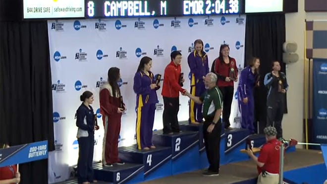 Former El Paso High swimmer, Shanny Lin, center, placed at the NCAA Division III swim meet recently.