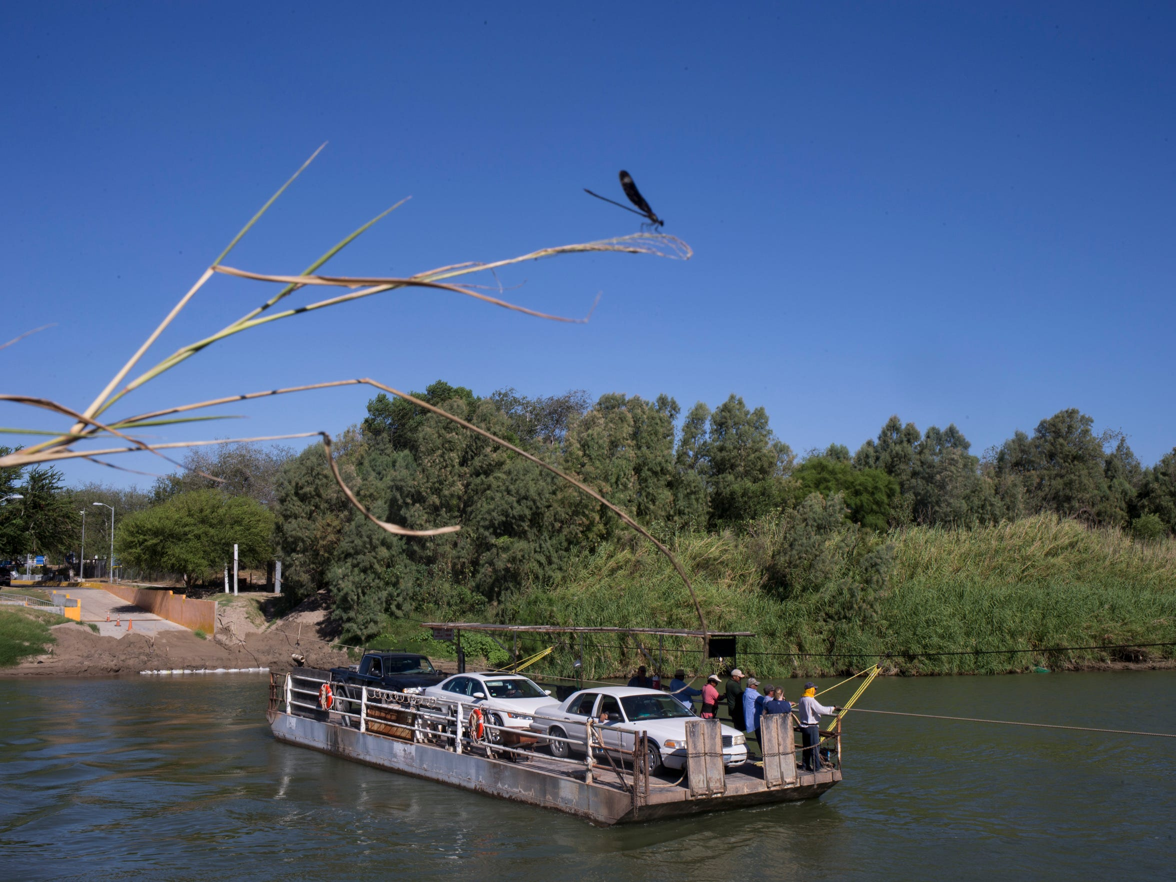 The Los Ebanos ferry carries three vehicles per trip across the Rio Grande between the Mexican state of Tamaulipas and Texas.