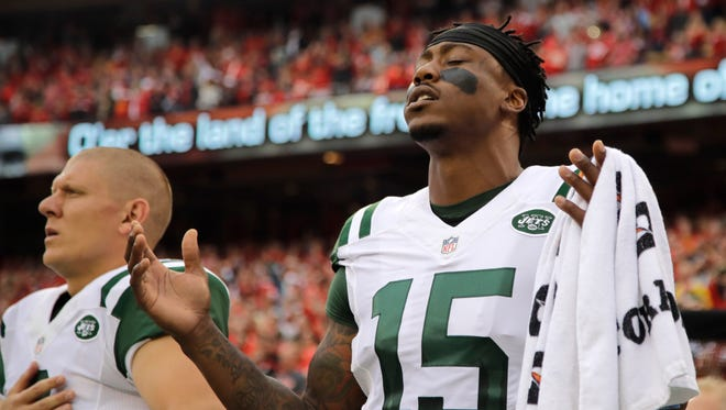 Jets receiver Brandon Marshall admits it hasn't been easy to stay positive during this difficult season. (AP Photo/Charlie Riedel, File)