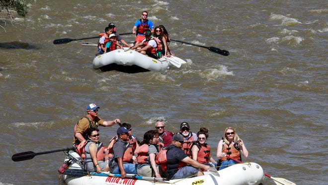 Visitors to Riverfest head down the Animas River on May 28 near Berg Park. The event returns today and continues through Sunday.