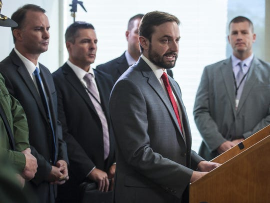 Deputy Chittenden County State's Attorney Bram Kranichfeld gives a recitation of events leading up to Franklin County Deputy Sheriff Nicholas Palmier fatally shooting Jesse Beshaw in Winooski last month at a news conference in Burlington on Thursday, October 6, 2016.