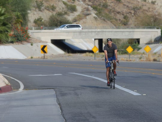 The Desert Sun reporter Nathan Brown rides on Parkview Drive in Palm Desert, where the CV Link will eventually run.