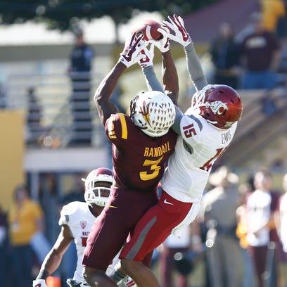 Arizona State's #3 Damarious Randall intercepts the