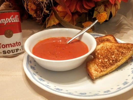 Campbell's Tomato Soup and grilled cheese sandwich.