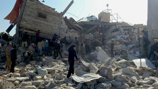A handout image dated Feb. 15, 2016, provided by Doctors Without Borders (MSF), showing destruction and rubble at a hospital in Idlib province in northern Syria.