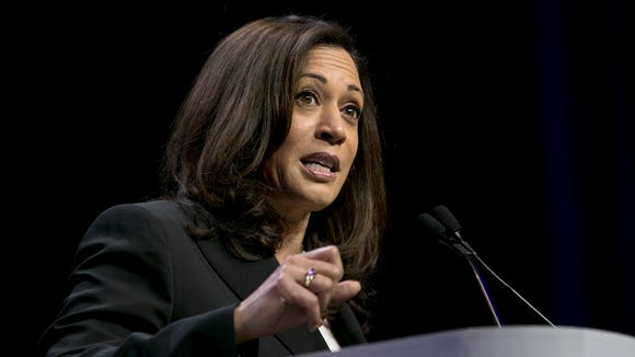 Sen. Kamala Harris speaks during the California Democratic Party Convention in Sacramento on May 20, 2017.