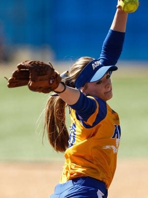 Angelo State senior pitcher Morgan Hill will try to help lead the Rambelles to an NCAA D-II South Central Super Regional championship this weekend against Texas A&M-Commerce at Mayer Field.