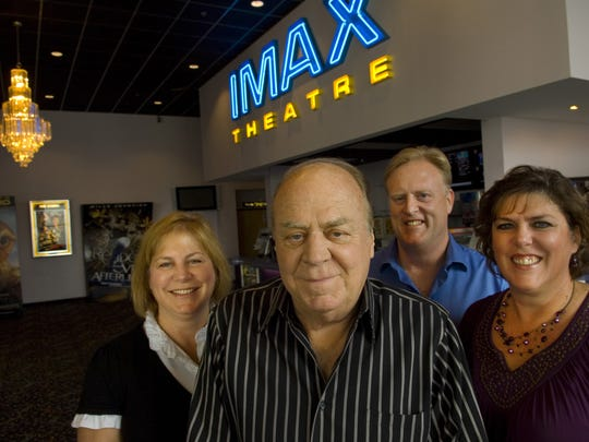 The Stielers kept their business, Showplace Cinemas, all in the family with founder and chief executive officer Paul Stieler, center, heading the team in this 2010 portrait. Dianne Miles, left, Mick Stieler, and Debbie Stieler-Scheessele, right, round out the staff. Paul Stieler, 80, died in his home May 13, 2018.