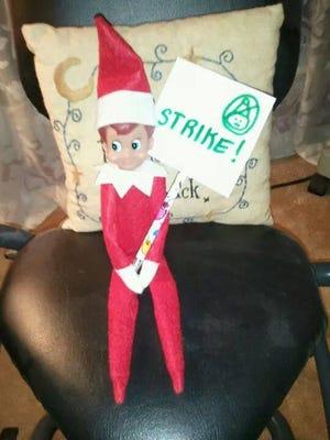 One Elf on the Shelf goes on strike for misbehavior.
