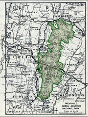 Top: The Green Mountain National Park, shaded in green, as proposed by President Roosevelt in 1937.