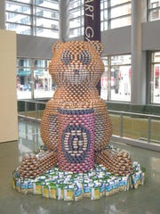 Sculptures of CANstruction benefit the Freestore Foodbank.
