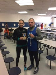 Chambersburg's Jill Hazelton and Chuck Stone each brought home some hardware from last weekend's Chambersburg Half Marathon. Hazelton took third in the women's 40-44 age group with a 1:41:27 while Stone won the men's 60-64 age group with a 1:50:14.