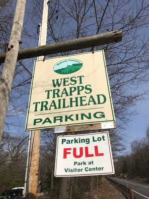 The Mohonk Preserve in Ulster County was a popular destination on Wednesday, March 18, as more and more people sought the outdoors while the coronavirus pandemic grew.