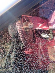 This vehicle window was damaged on Maholm Street during a weekend vandalism spree.